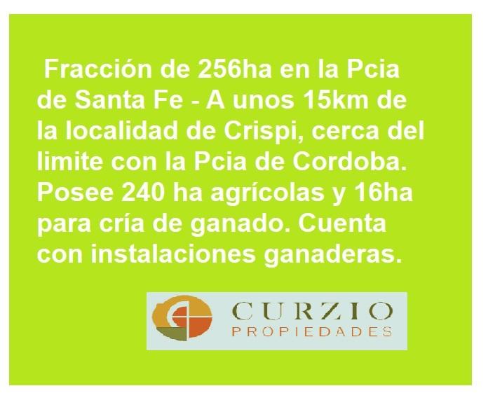 Vendo Campo de 256ha en Pcia Santa Fe