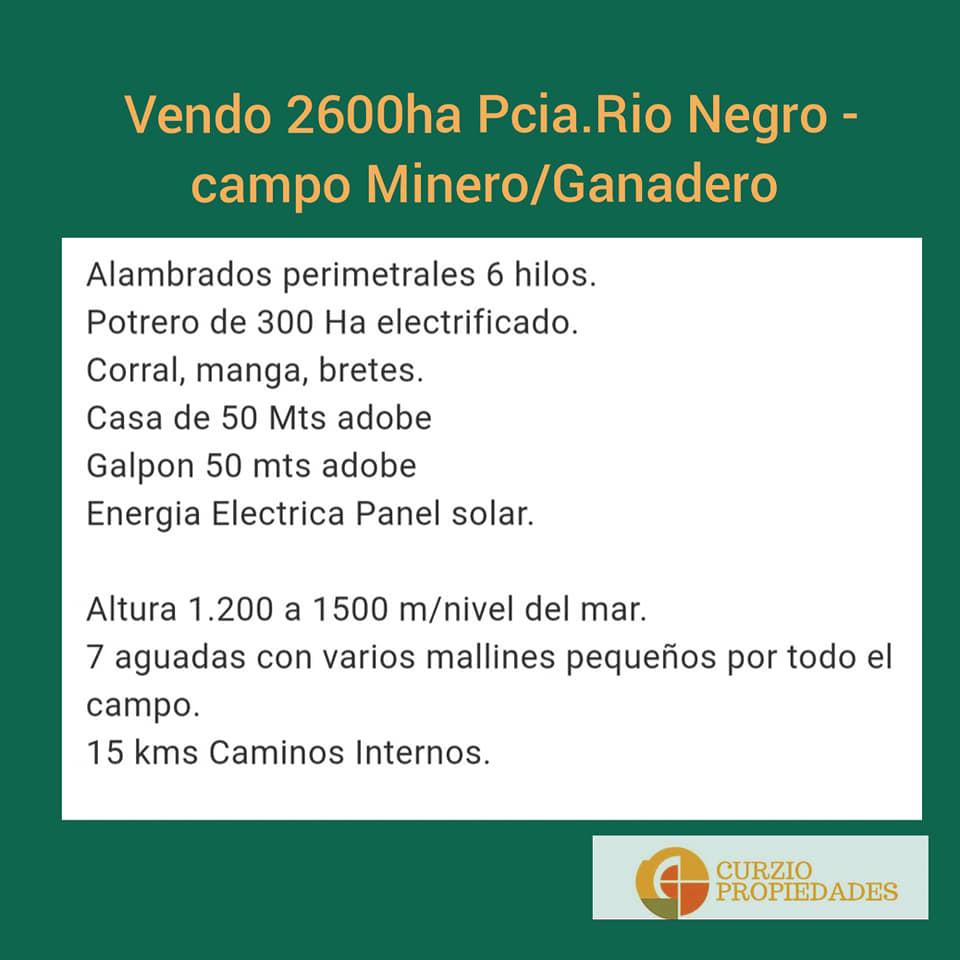 Vendo Campo Minero y Ganadero de 2600ha, Ing. Jacobacci, Pcia. Rio Negro